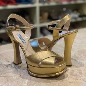 Prada Saffiano Platform Sandal